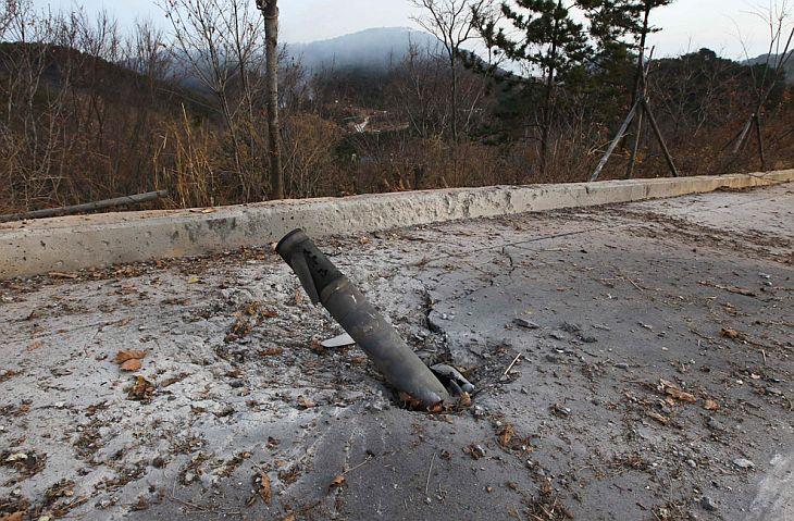 Снаряд, выпущенный Северной Кореей по южнокорейскому острову Енпхендо