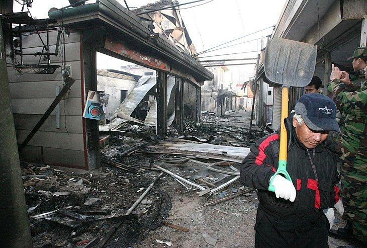 Разрушенные дома на южнокорейском острове Енпхендо