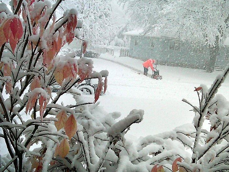 Снежная буря в городе Манкато, штат Миннесота