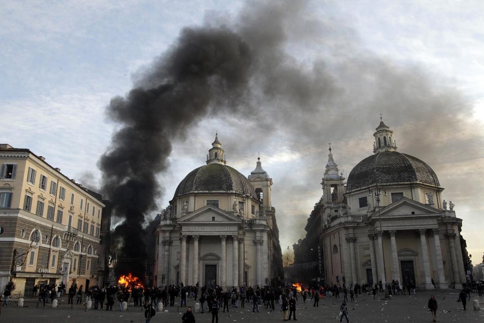 Погромы в центре Рима