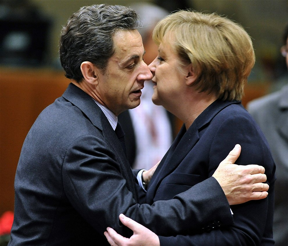 Президент Франции Николя Саркози к канцлер Германии Ангела Меркель