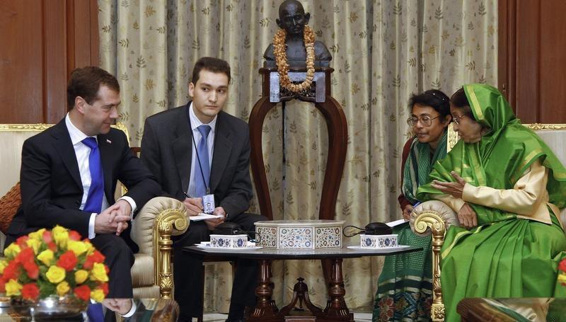 Дмитрий Медведев и президент Индии Пратибхе Патил