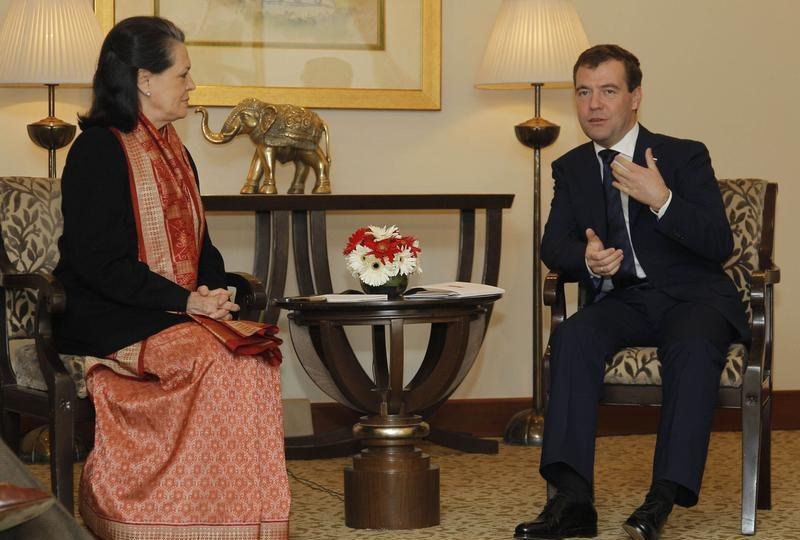 Дмитрий Медведев и лидер Индийского национального конгресса Соня Ганди