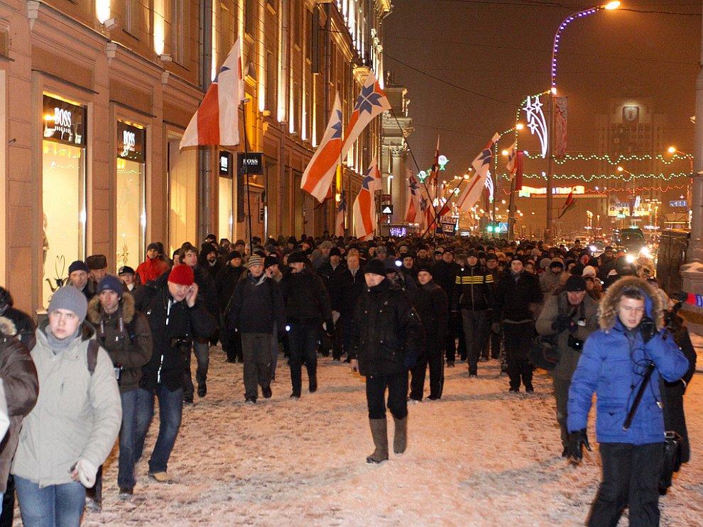 Шествие оппозиционеров в Минске