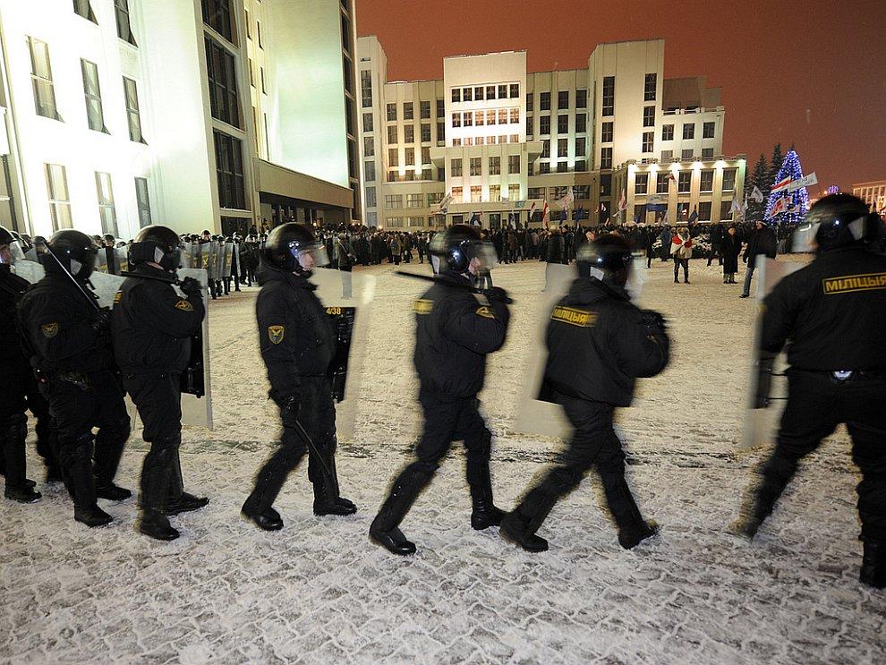 Акция оппозиции в Минске после выборов президента Белоруссии