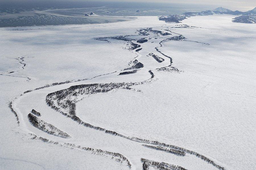 Полет над зимней Камчаткой