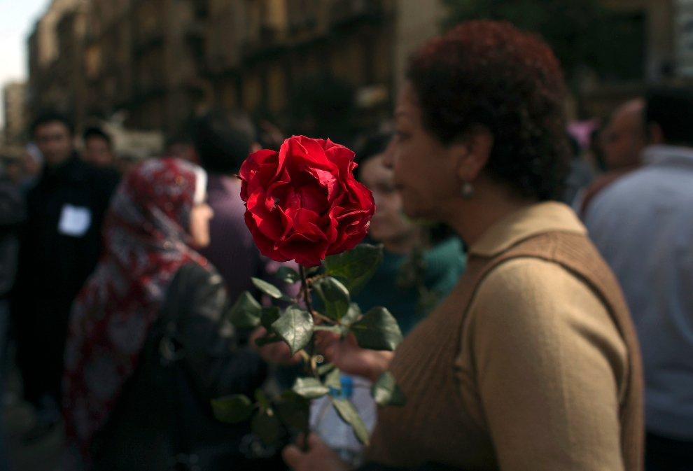 Женщина с цветком на фоне акции протеста на площади Освобождения в Каире