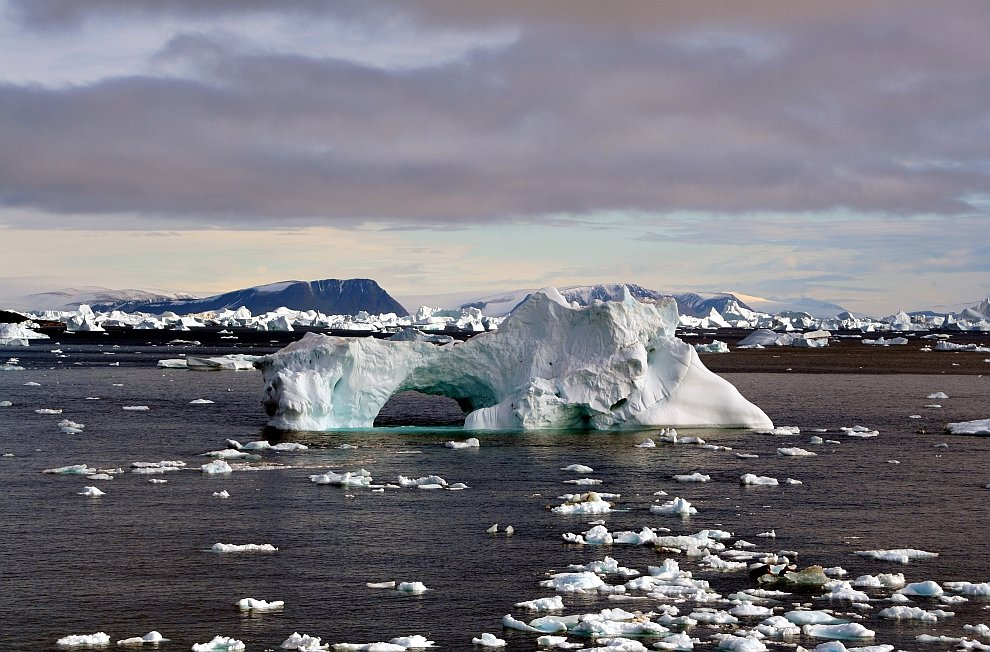 Многие айсберги под воздействием природных явлений имеют причудливые формы