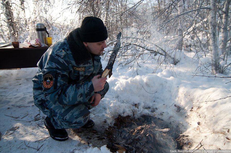 Зимние учения ОМОНА: снежный репортаж