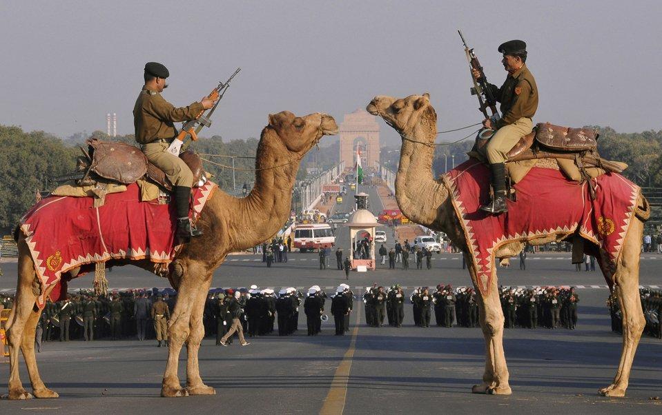 Солдаты на верблюдах стоят возле Ворот Индии — военного мемориала Нью-Дели