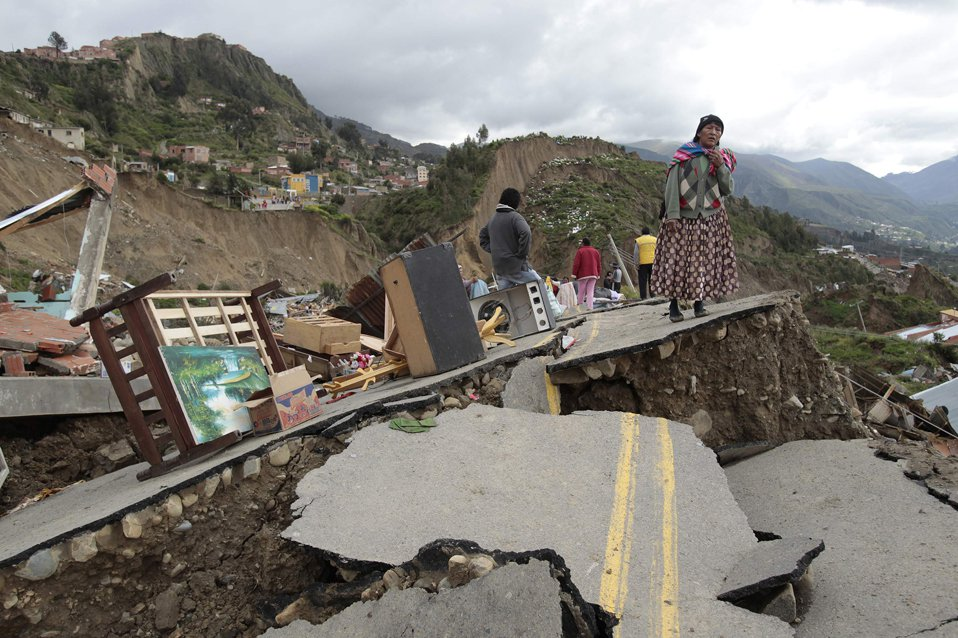 Разрушенная дорога в Ла-Пасе