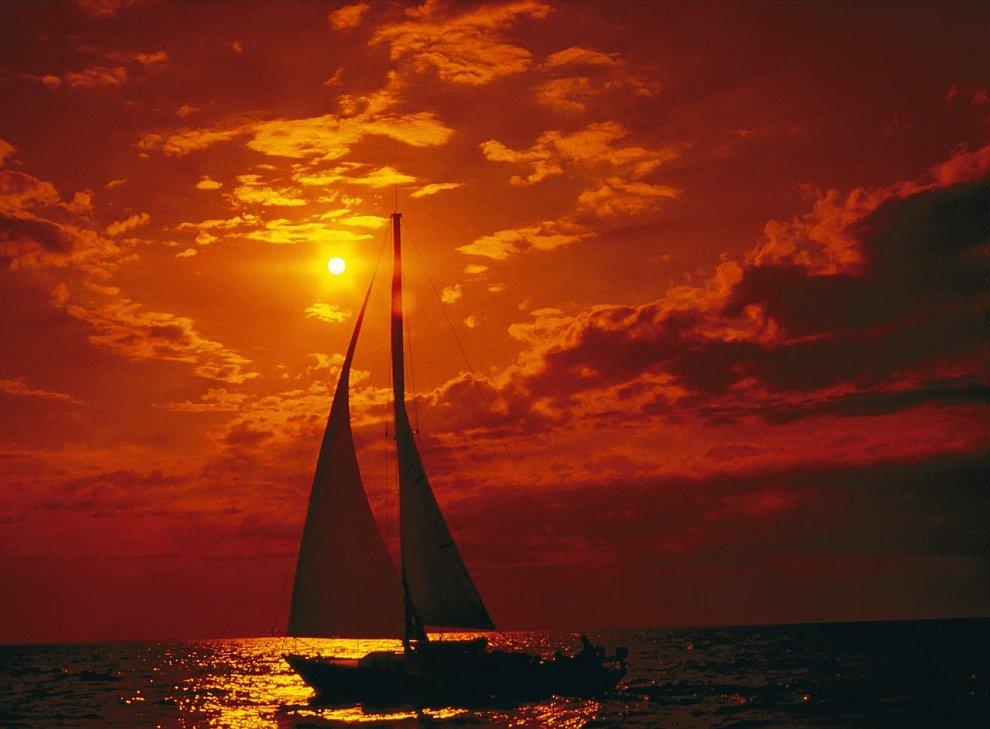 Закат над озером Мичиган