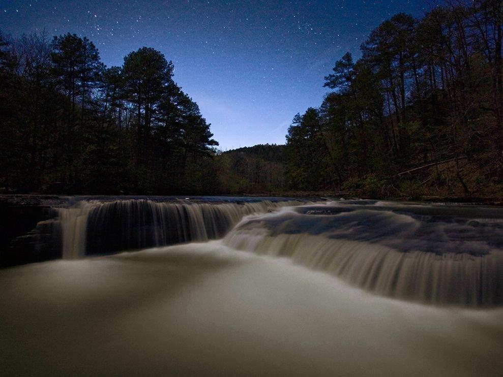 Ночные водопады, Арканзас, США
