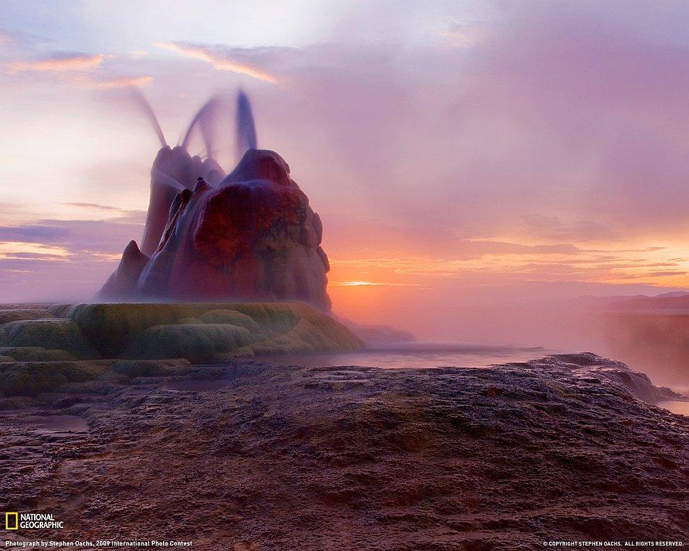 Гейзер Флай в «Черной пустыне» штата Невада