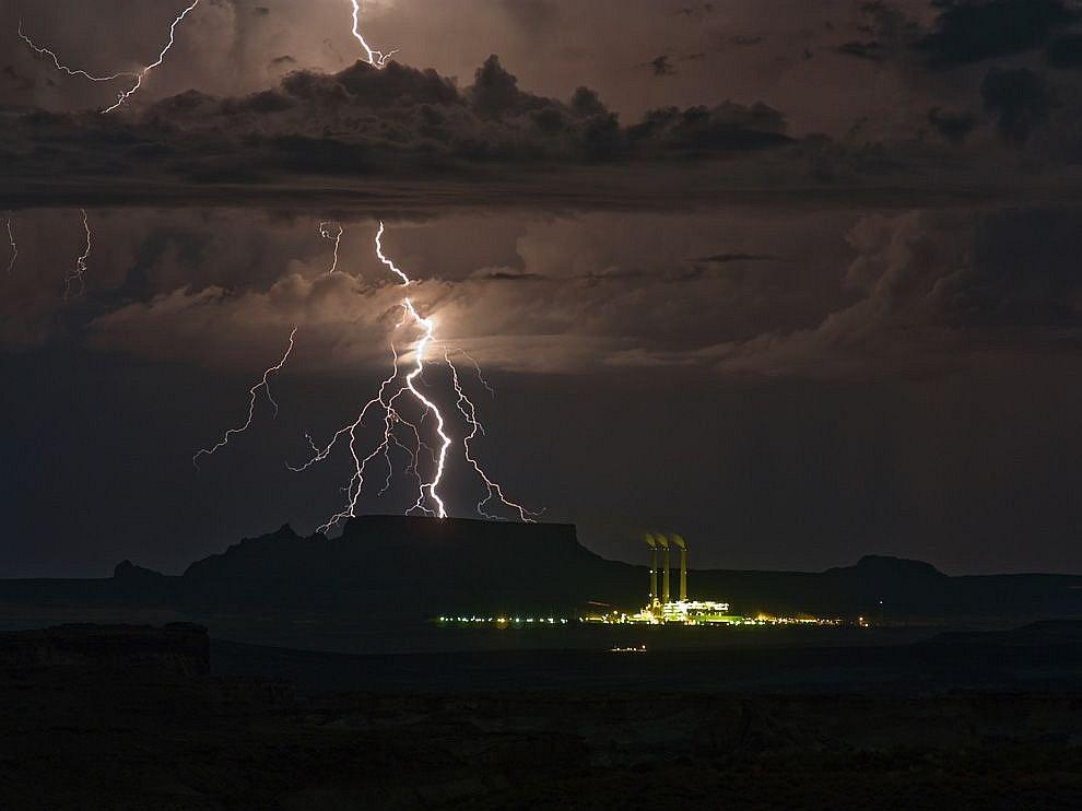 Молнии на границе штатов Юта и Аризона