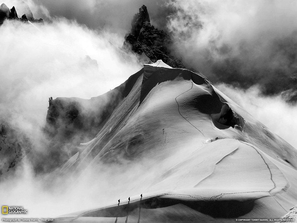 Черно-бело: альпинисты во французских Альпах