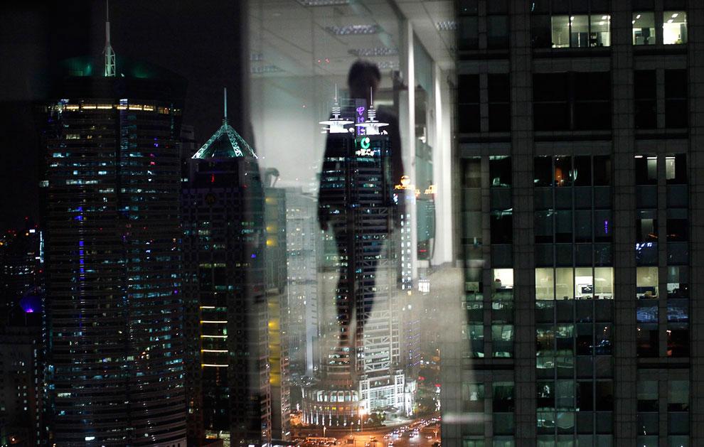 Небоскребы в финансово районе Шанхая