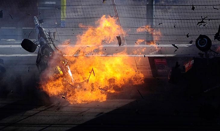 Авария на гоночной трассе в Лас-Вегасе. Как в кино