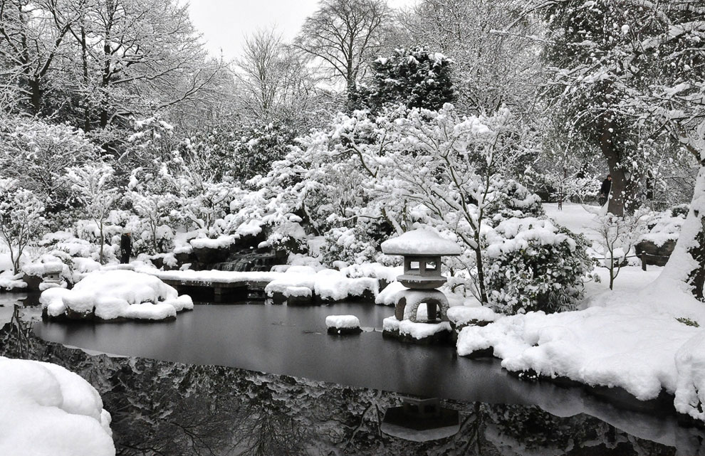 Картинки японский сад зимой