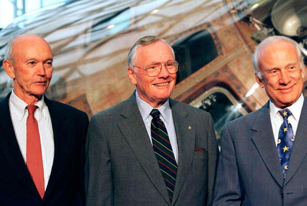 Астронавты «Аполлона-11» Нил Армстронг, Эдвин Базз Олдрин (справа) и Майкл Коллинз