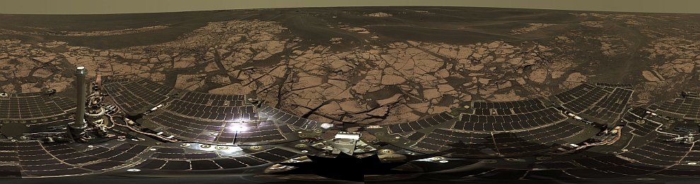 Панорама, снятая марсоходом Оппортьюнити на краю кратера Эребус