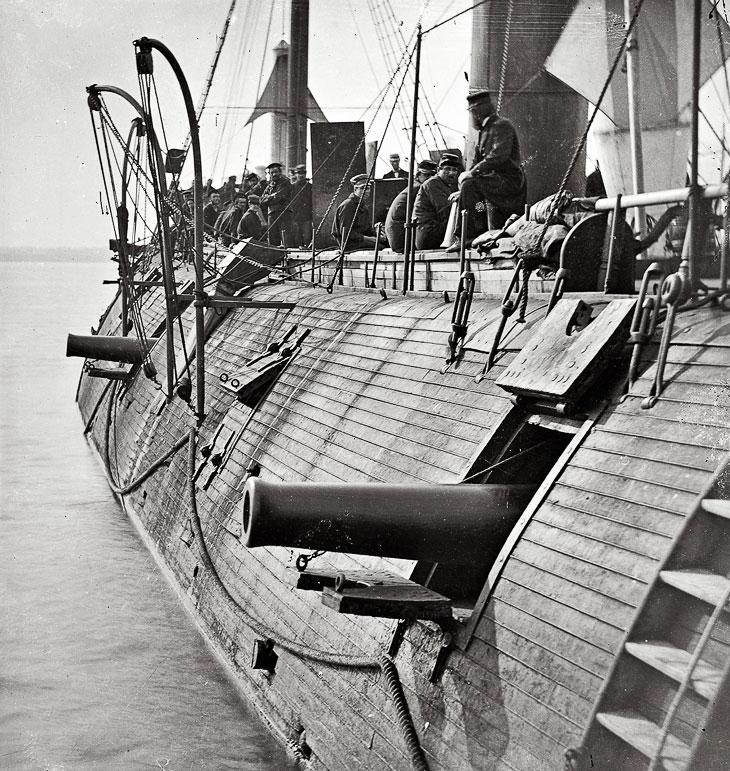 Федеральный броненосец «Galena» На реке Джеймс в штате Вирджиния, 1862 год