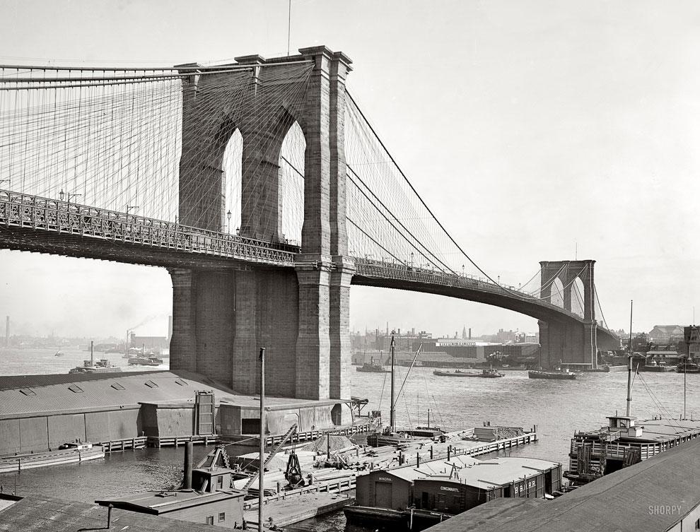 Бруклинский мост в Нью-Йорке, 1900 год