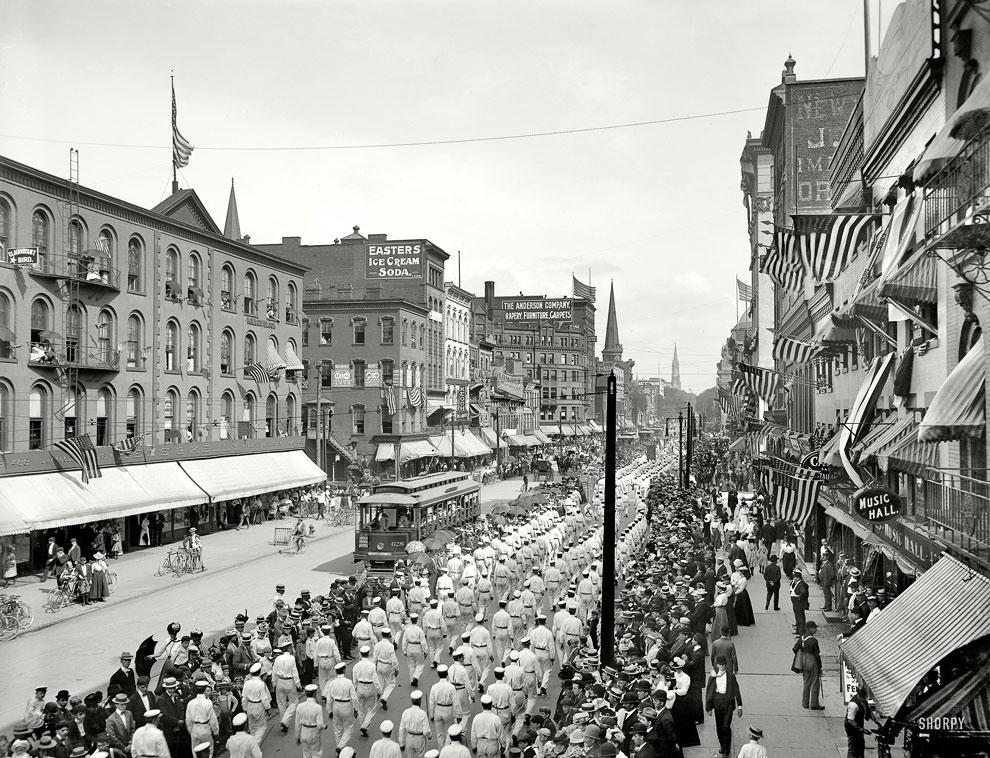 Марш рабочих в городе Баффало, штат Нью-Йорк, 1900 год