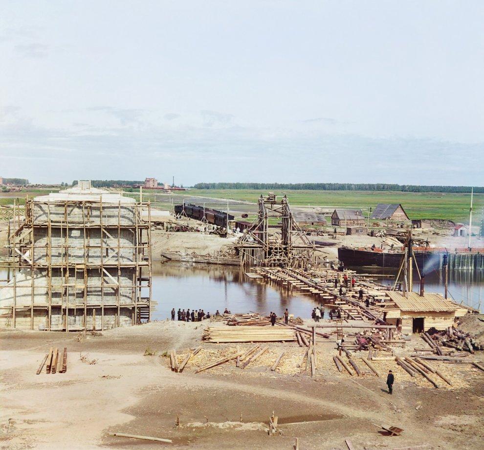 Тюменская область. Профиль строящегося через Тобол деревянного железнодорожного моста, 1912 год