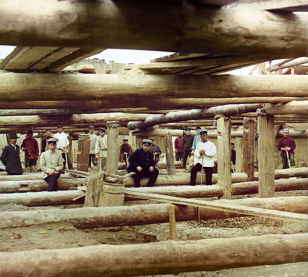 Московская область, Луховицкий район. Бетонировка флютбета плотины, 1912 год