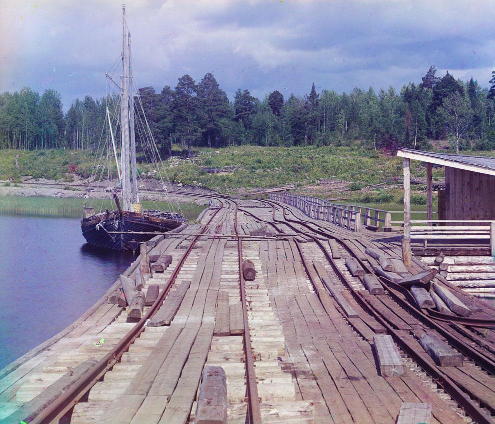 Республика Карелия, пристань на Онежском озере в Кондопоге, 1916 год