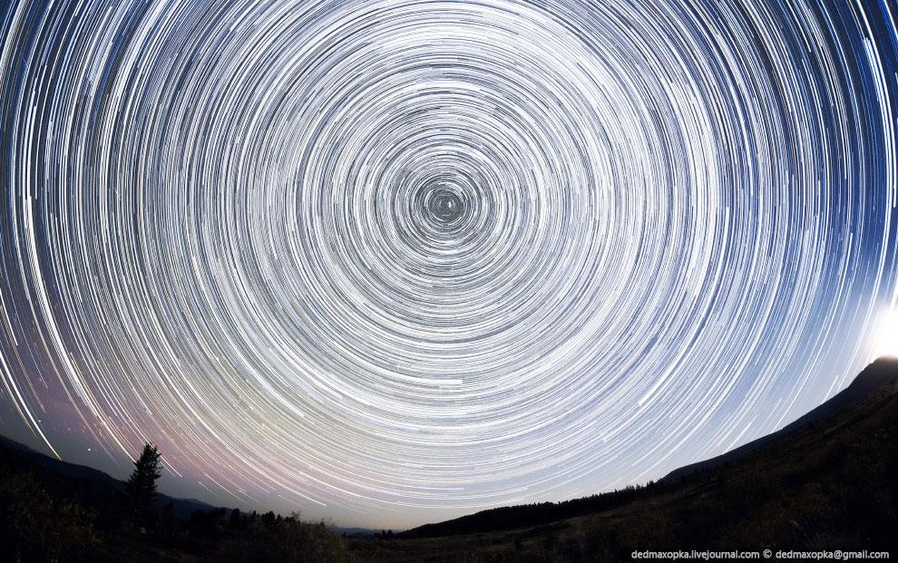 Звездные треки в предгорье Алтая