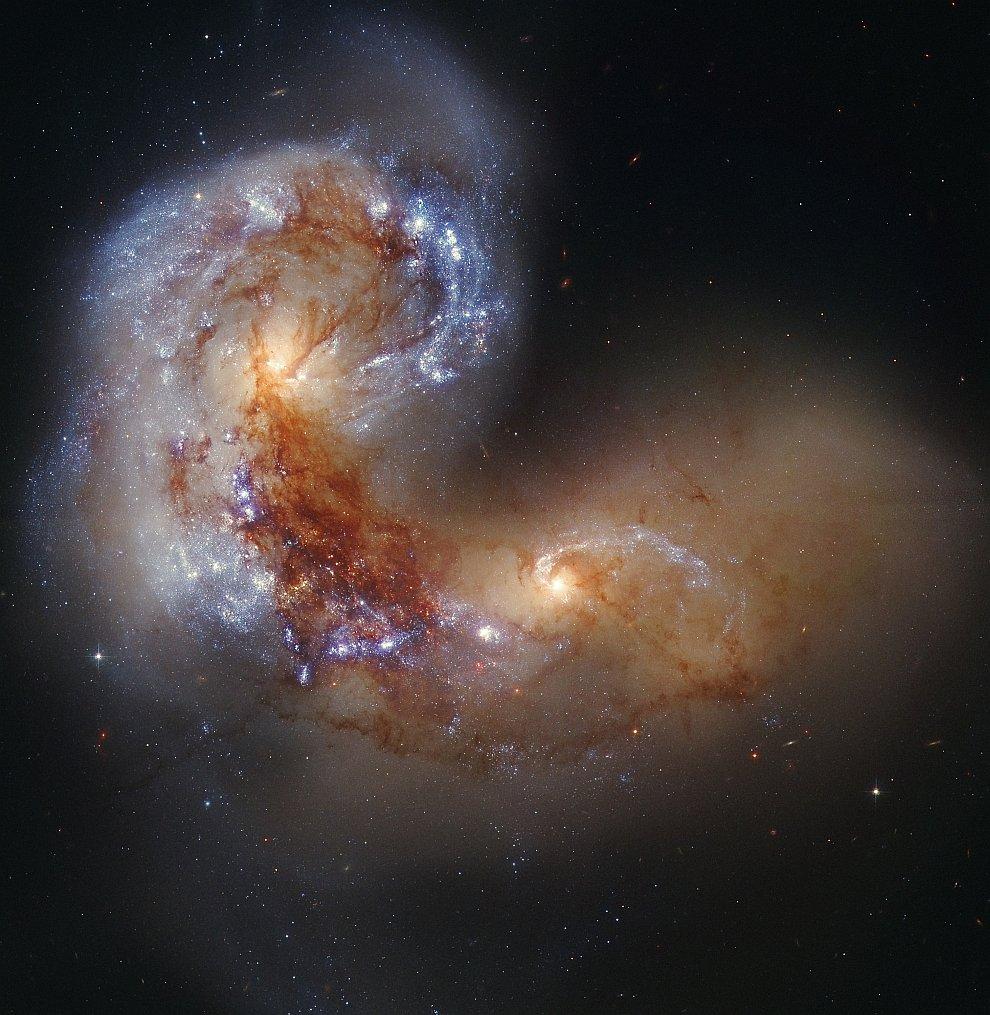 Спиральная галактика NGC 4038 во время столкновения