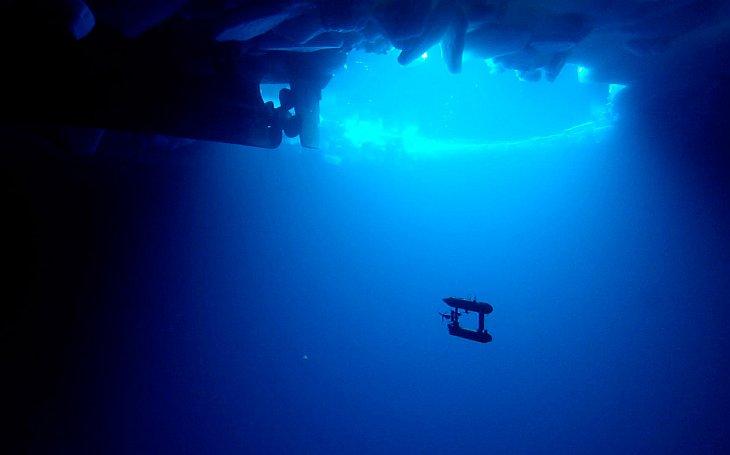 Это подводный робот, плавающий под морскими льдами в Антарктиде