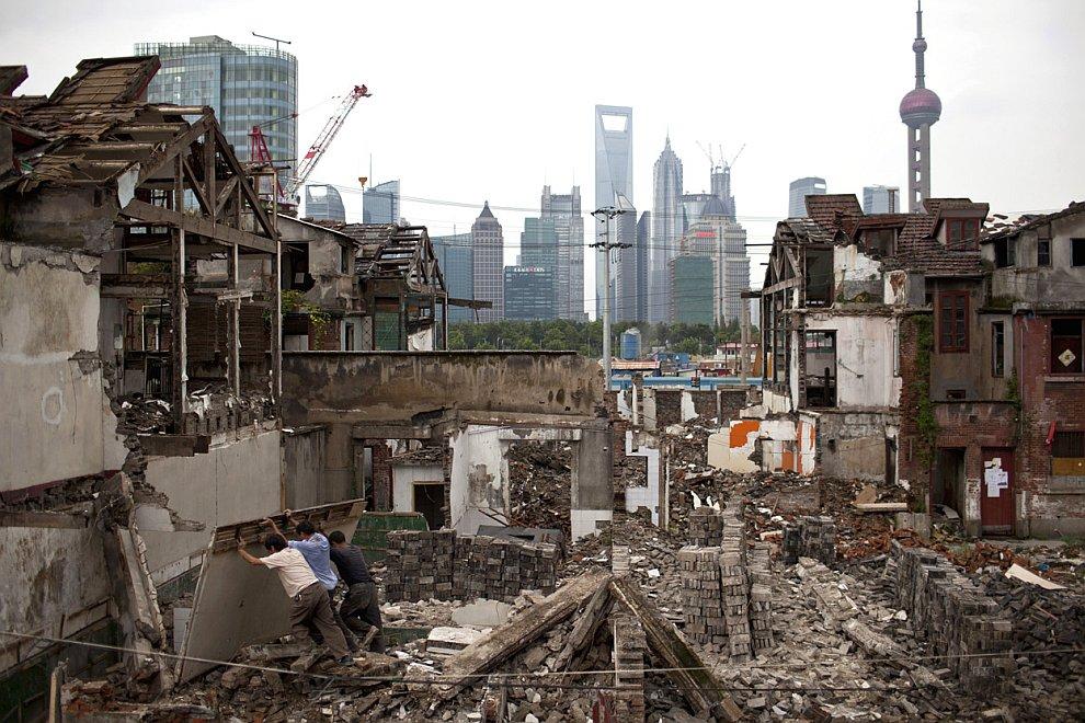 Снос старого квартала в центре Шанхая