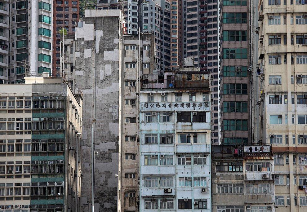 Нагромождение зданий в Гонконге