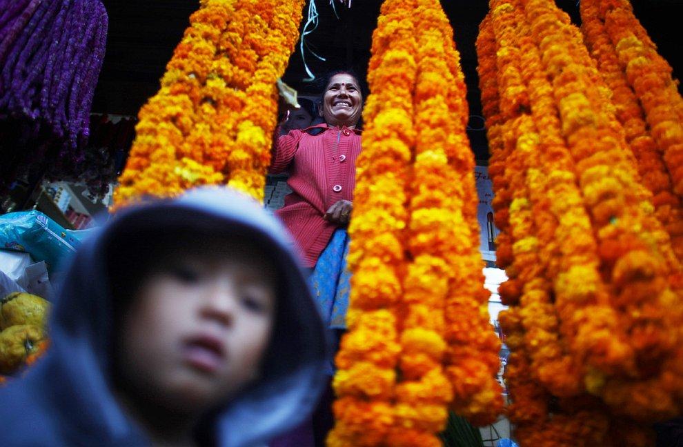 Продавщица в цветочной лавке ждет своих покупателей