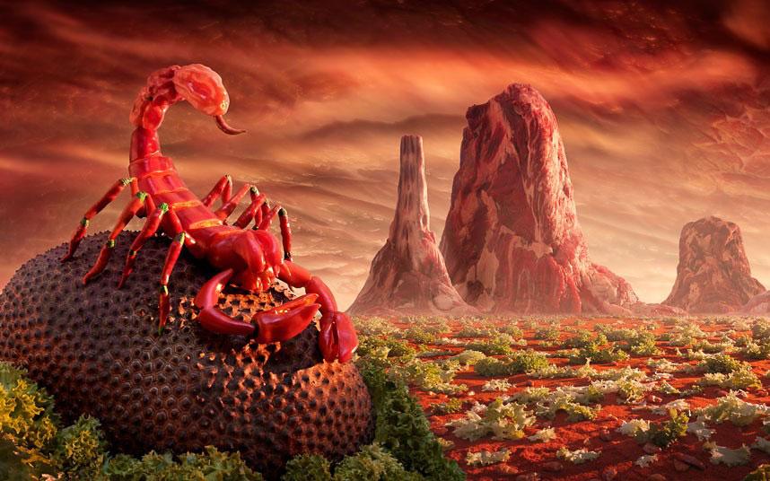 Скорпион из перцев чили