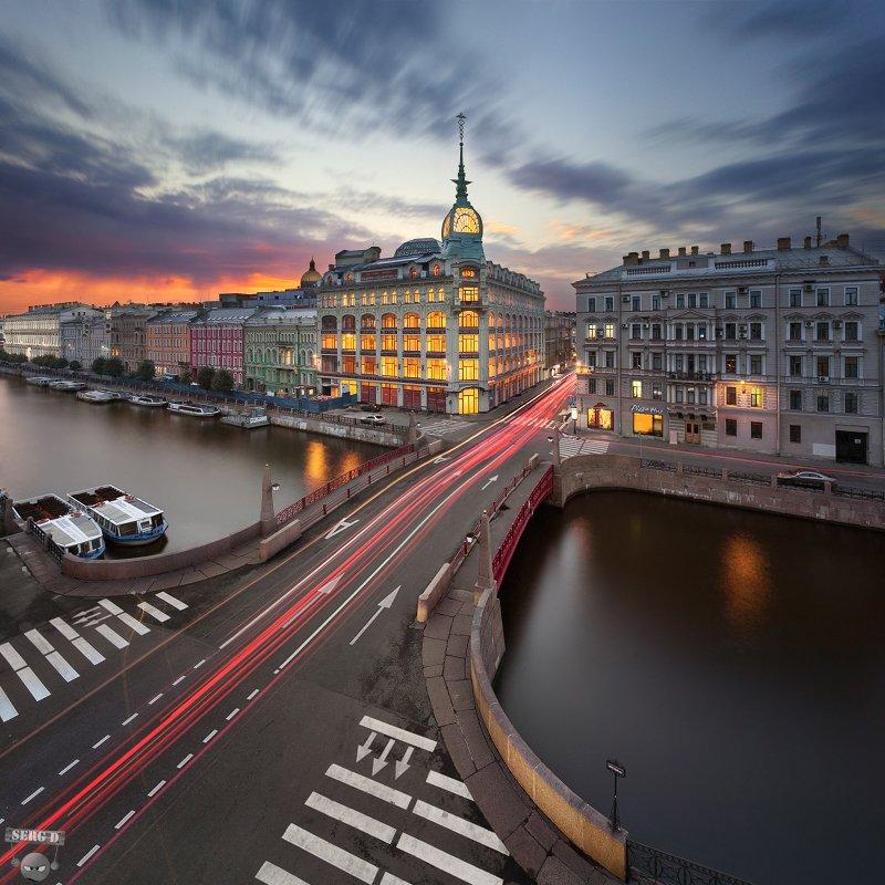 Красный мост, река Мойка, дом Эсдерса и Схейфальса