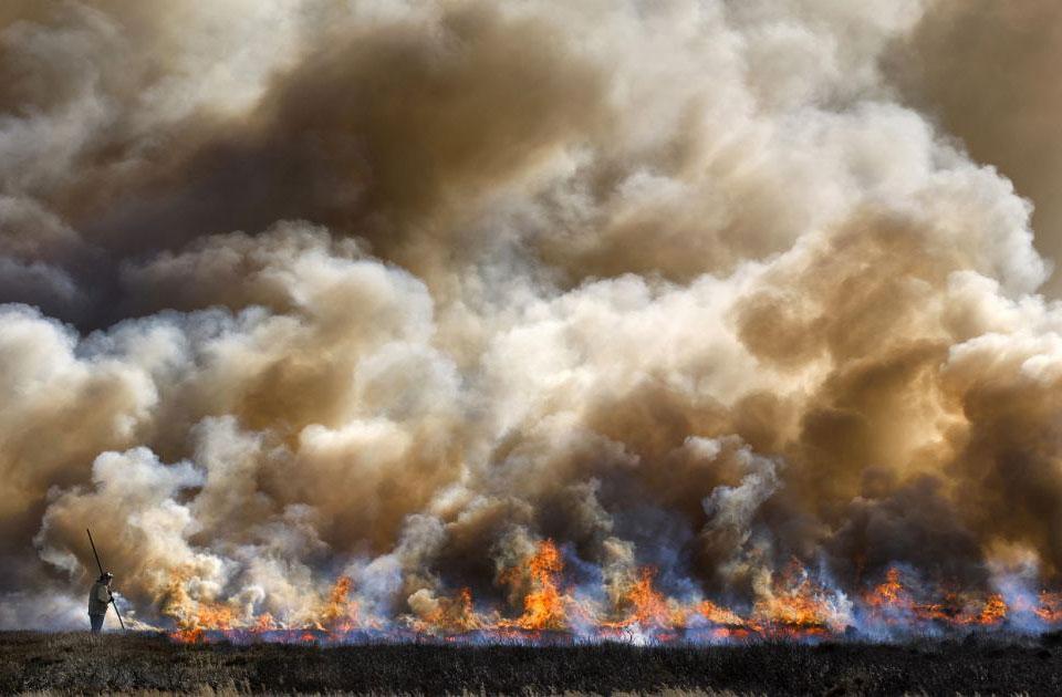 Огонь в национальном парке Йоркширские вересковые поля