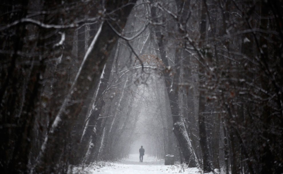 Таинственный парк во время снегопада в центре Софии