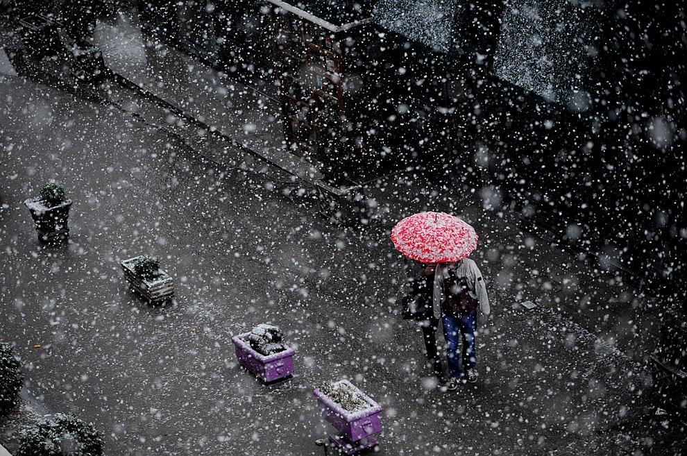 Снегопад в Приштине, Косово