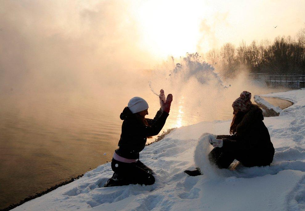 Морозный день на берегу Енисея, Красноярск