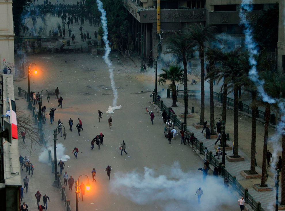 На улицах Каира около площади Тахрир, 24 января 2013