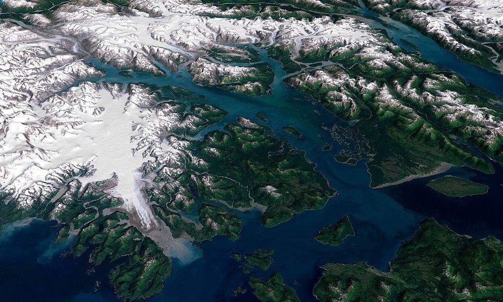 Так выглядит Национальный парк Глейшер Бей из космоса
