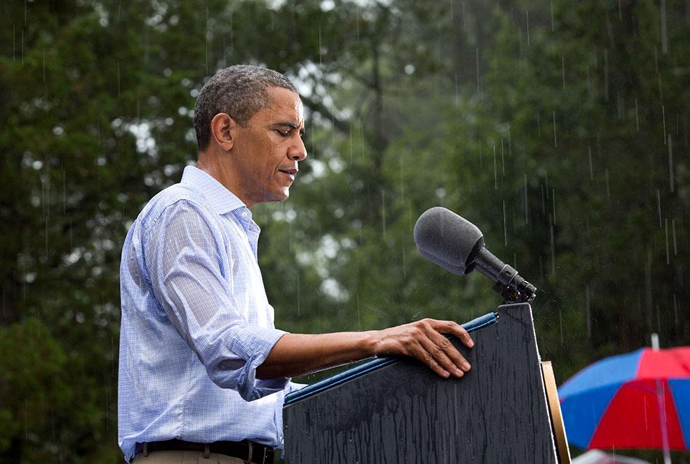 Предвыборная кампания Барака Обамы в штате Вирджиния под проливным дождем