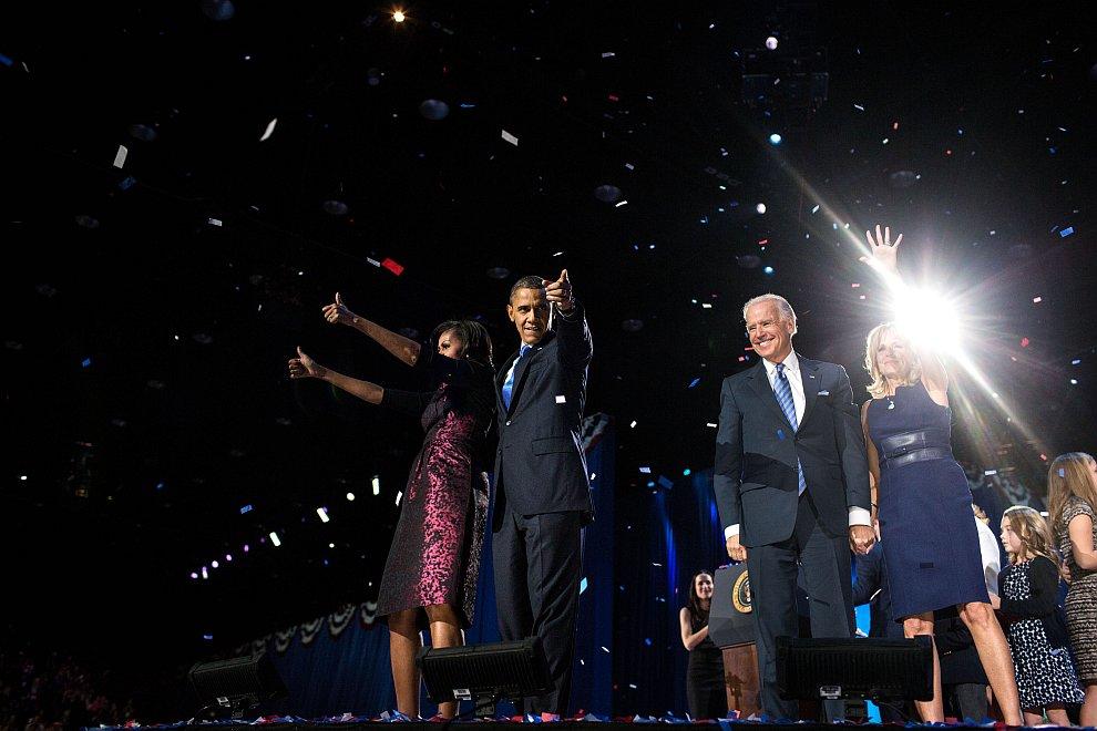Победа на выборах президента США. барак Обама с женой