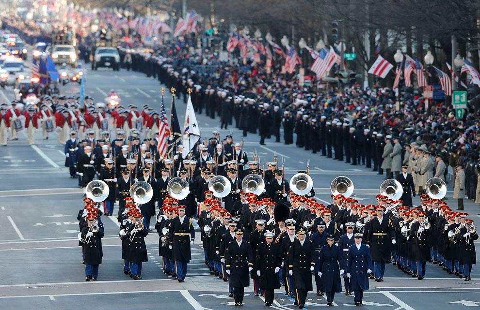Военные оркестры на параде в Вашингтоне