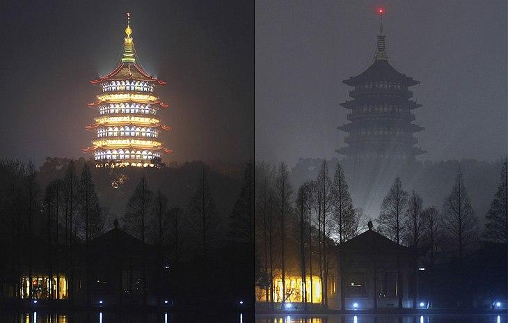 В 20:30 было выключено освещение пагоды Лэйфэн — пятиэтажной восьмиугольной высокой башни в провинции Чжэцзян