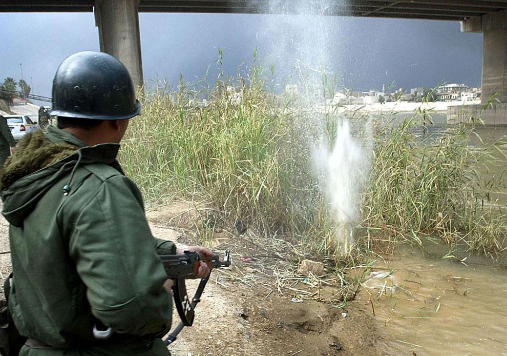 Иракский солдат стреляет из АК-47 по камышам на берегу реки Тигр в Багдаде